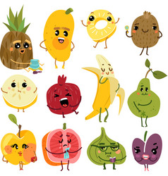 cute fruits fruit funny characters pineapple vector image