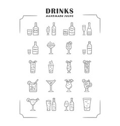 drinks linear icons set alcohol menu card vector image