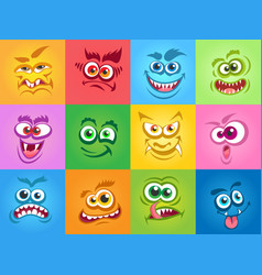 emotions monsters faces vector image