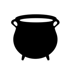 Empty witch cauldron pot silhouette isolated on vector