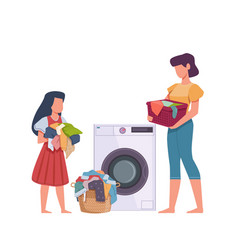 Family in laundry mother and daughter loading vector