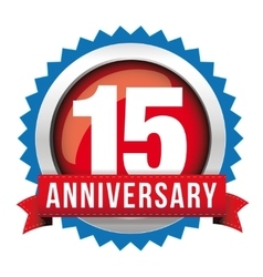 Fifteen years anniversary badge with red ribbon vector