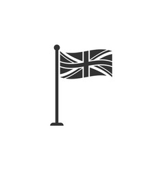 flag great britain on flagpole icon isolated vector image