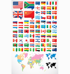 flags and world map vector image