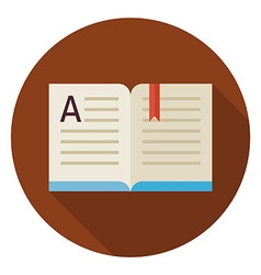 Flat Education Reading Open Book Circle Icon with vector image