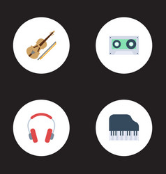 flat icons earphone octave keyboard fiddle and vector image