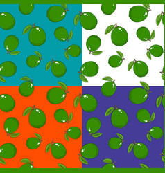 four seamless pattern with lime vector image