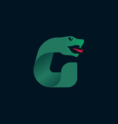 G letter logo with snake head silhouette vector