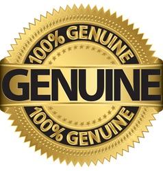 Genuine gold label vector image