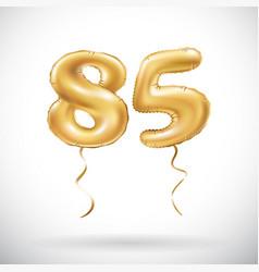 golden number 85 eighty five metallic balloon vector image
