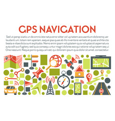 gps navigation banner with navigator app icons and vector image