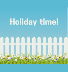 Grass and white fence vector