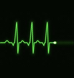 green heart pulse light transparent effect electr vector image
