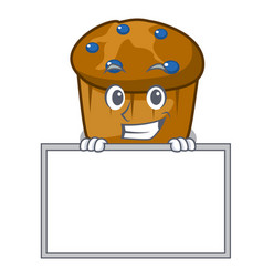 grinning with board mufin blueberry character vector image