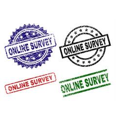 grunge textured online survey stamp seals vector image