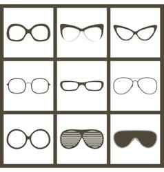Hand drawn glasses frame set Retro vintage vector