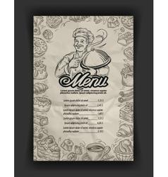 Hand drawn menu restaurant sketch and chef vector