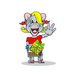 happy blonde rat with a trolley gifts greets us vector image