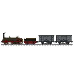 historical freight steam train vector image