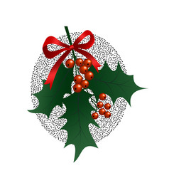 holly branch on white background christmas symbol vector image