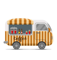 Hot coffee street food caravan trailer vector