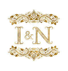 I and n vintage initials logo symbol the letters vector