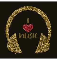 I love music Gold style Headphones with text vector image