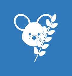 Icon koala and plant vector