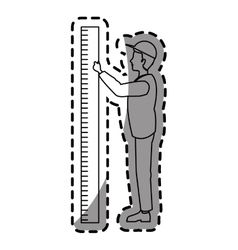 Isolated man cartoon with ruler design vector