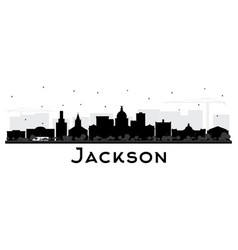 jackson mississippi city skyline silhouette with vector image