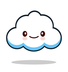 kawaii cartoon white emoticon cute cloud vector image