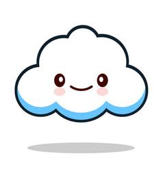 Kawaii cartoon white emoticon cute cloud vector