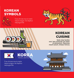 korea travel destination promotional posters with vector image