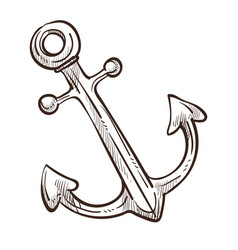 marine symbol ship anchor isolated monochrome vector image