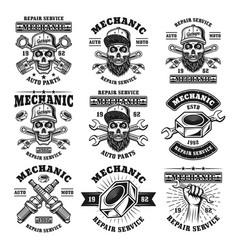 mechanic and repair service set emblems vector image