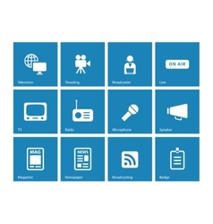 Media icons on blue background vector