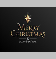 merry christmas and happy new year golden vector image