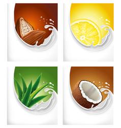 Milk splash with lemon cacao aloe vera coconut vector