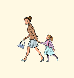 mother and daughter are walking vector image