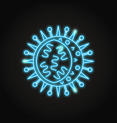neon influenza virus cell icon in line style vector image