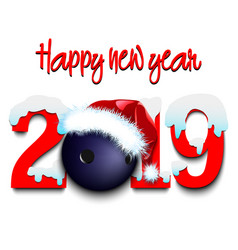 New year numbers 2019 and bowling ball vector