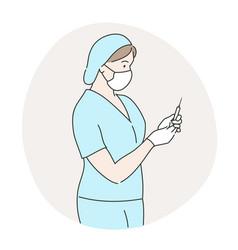 Nurse preparing to vaccinate against covid-19 vector