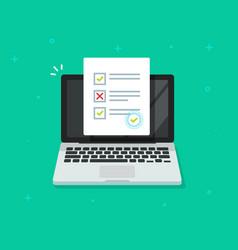 Online form survey on laptop computer quiz vector