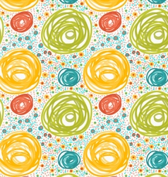 Painted orange and green circles with dots vector image vector image