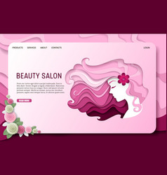 paper cut beauty salon landing page website vector image