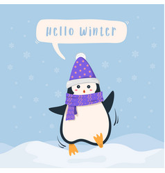 penguin cheerful winter background vector image