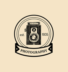 Photography logo vintage old camera label vector