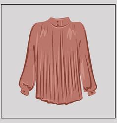 powder silk blouse a classic shirt oversize vector image