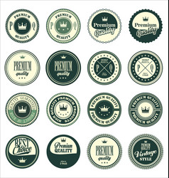 Premium quality vintage badges green set vector