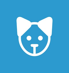 puppy icon white on the blue background vector image